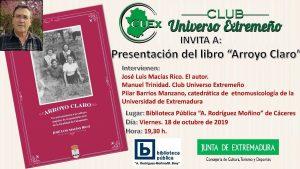 18/10/2019 Presentación del libro «Arroyo Claro» de Jose Luis Macías Rico