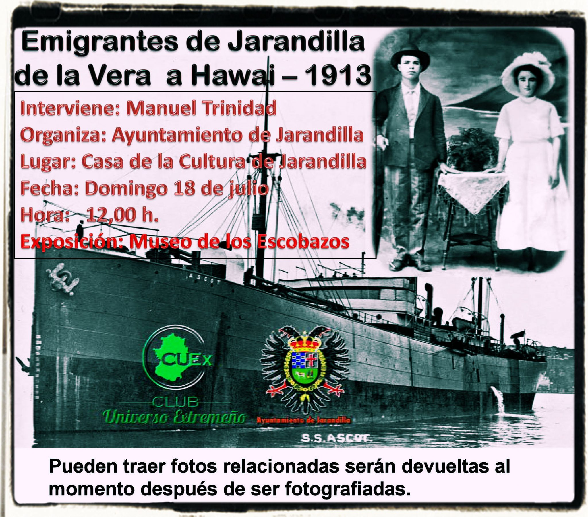 18/7/2021 Charla sobre los emigrantes de Jarandilla de la Vera a Hawai (1913)